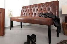 Sitzbank Küchenbank Esszimmer CHESTER 165cm antik braun Mikrofaser Chesterfield