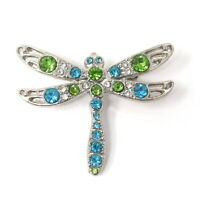 Silvertone Dragonfly Pin Brooch with Blue Green Crystals unsigned