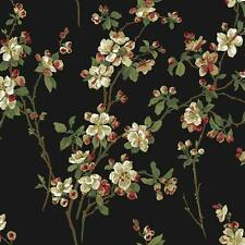 Wallpaper Raised Ink Cherry Blossoms Floral Red Green Tan White on Black