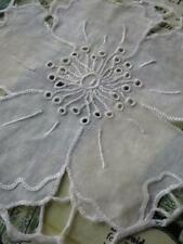 8 Antique Fine Cotton Whitework Hand Embroidered Flower Appliques