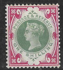GB805) GB 1900 QV Jubilee 1/- Green & carmine SG 214, Mint, Cat £65.