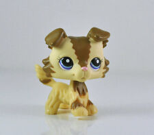 Littlest Pet Shop LPS Collie Dog Puppy Blue Eyes Cream Tan Brown Child Toy #2210