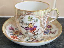 SUPERB SIGNED antique KPM BERLIN BIRDS Pattern porcelain CUP & SAUCER DUO