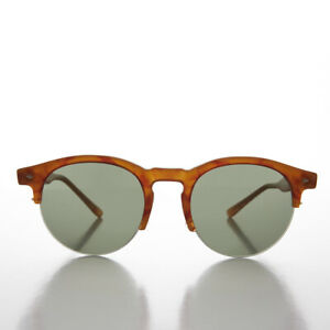 Round Browline Tailored Vintage Sunglass Persimmon / Green Lens - Sorin