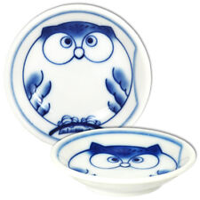"""2 PCS. Japanese Sushi Soy Sauce Dishes 3.5""""D Porcelain Blue Owl Made in Japan"""