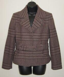 United Colors Of Benetton Womens Plaid Wool Blazer Suit Jacket Size 46 US 10