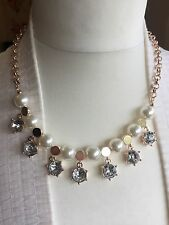 Topshop Pearl Crystal Rose Gold Necklace Star JEWELERY Statement Love UO Wedding