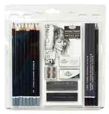 21 Royal Essentials Sketching Pencil Set Art Artist Drawing, Graphite Charcoal .