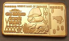 100 Trillion Dollar Zimbabwe 24Kt Gold Layered Bar Bank Note Money Africa Unsual