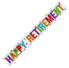 9ft Sparkly Holographic Foil Happy Retirement Party Banner Wall Decoration