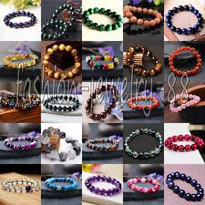 Natural Stone Loose Round Beads Stretchable Bracelet Gemstone Wristband Bangle