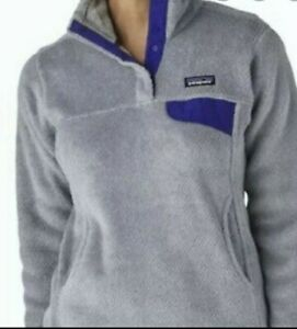 Patagonia Women's ReTool Snap-T Fleece Pullover Sweater Purple Large