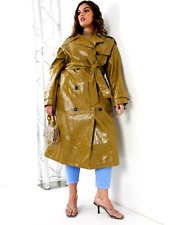wet look glanz shiny vinyl pvc nylon plastic coat Jacket  trench bbw plus fit