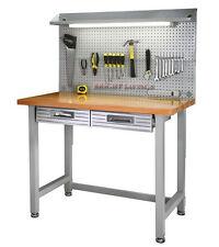 New Steel Frame Wood Top Work Bench Workbench Built In Light Fixture Power Strip