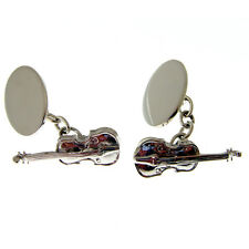 VIOLIN SOLID SILVER CUFFLINKS. FULLY HALLMARKED AND MADE IN ENGLAND