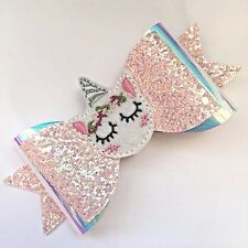 Pretty Pink Girl's Unicorn & Glitter Large Double Hair Bow With Unicorn Centre