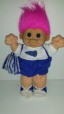 "Troll Cheerleader Vintage Russ 11"" Blue and White pink hair Pom Pom Kidz"