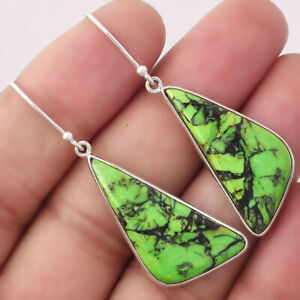 Natural Green Matrix Turquoise 925 Sterling Silver Earrings Jewelry 3455