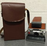 Vintage Polaroid 1977 SX-70 Tan Leather Instant Land Camera with Carrying Case