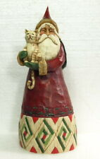 """New"" Jim Shore Christmas ""Santa With Tabby Cat"" 10"" Figurine"