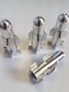 Silver Metal Rocket Shaped Car Bike Van Wheel Tyre Valve Dust Caps x 4