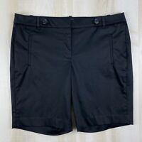 Ann Taylor LOFT Womens Size 14 Black Cotton Stretch Bermuda Walking Shorts