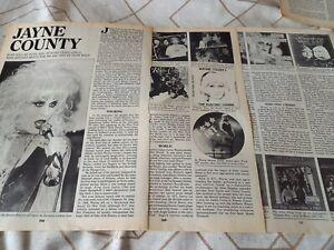 Wayne / Jayne County 1996 magazine interview article / photos / discography
