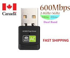 Dual Band 5Ghz/2.4Ghz 600Mbps USB WIFI Adapter (Free Driver) for Desktop/Laptop