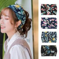 Women Hair Accessories Fashion Headband Cross Knotted Chiffon Floral Hair Band@