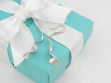 "Tiffany & Co Silver Gehry 2.25"" Orchid Earrings Box Pouch Card Ribbon Included"