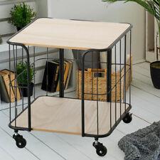 Rolltisch Holz Metallgitter Service Wagen Küchenwagen Beistelltisch Teewagen