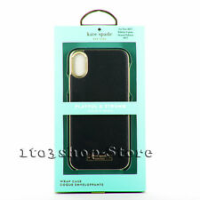 Kate Spade iPhone X 10 Wrap Leather Hard Shell Case Snap Cover Black w/Gold Logo