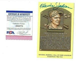 Travis Jackson Autographed New York Giants Baseball HOF Plaque Postcard PSA COA