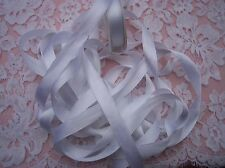 "100% PURE SILK SATIN  RIBBON 1/2""[13MM] WIDE 6 YD SPOOL WHITE"