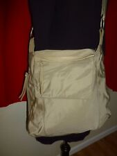 J. JILL Tall Beige Canvas Utility Tote Bag Hobo Shoulder Shopper Handbag Purse