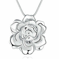 Women Girlfriend Gift Rose Flower 925 Sterling Silver Pendant Necklace Choker