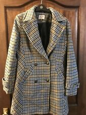 Coat NEXT Size 10 EU 38 Checked Yellow Blue Buttons Coat Double Breasted