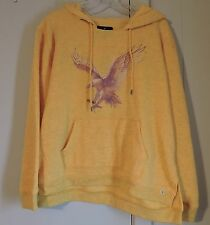 NWT American Eagle Outfitters Large Yellow Distressed Hoodie w/ Kangaroo Pockets