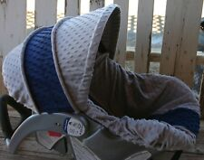 infant car seat cover and hood cover gray with navy blue minky