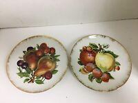 "Vintage Fruit Collector Saucers Set of 2 Japan 7"" Diameter Decorative Plate"