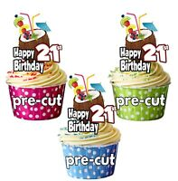 PRECUT Hawaiian Hula Party Cocktail 12 Edible Birthday Cup Cake Toppers ANY AGE
