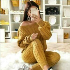 Chic Matching Sets Outfit Knit Sweater Tops and Pant Suit Two Piece Set Womens