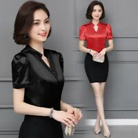 Lady Satin Silk T Shirt Tops Shiny V Neck Short Sleeve Slim Work Wear Summer Tee