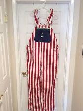New Mens Liberty Duck Bib Overalls RED WHITE & BLUE 40 X 30 AMERICAN FLAG Stripe