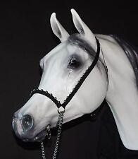 Hand Braided Arabian Style Show Halter, Horse Tack,  BLACK w/ SILVER ---NEW!