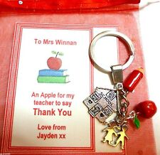 Apple for Teacher Keyring Teacher Thank You Gift Personalised Gift Card +Bag