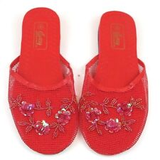 Women's Floral Beaded Sequin Rose Mesh Flats Slippers Shoes Sizes 6-11 New