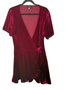 New Look Velvet Wrap Mini Dress Size 18 Burgundy Short Sleeve Occasion