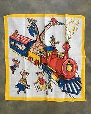 VECCHIO vintage fazzoletto di animali per bambini su un treno a vapore ferroviario Cartoon