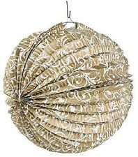 (10) Gold Flourish Paper Lantern Ornate Chinese Wedding Lamp Decoration Party
